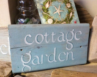 Hand Painted Reclaimed Wood Cottage Garden Sign, By The Sea, Home Decor,  Out Door & Gardening Gift