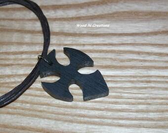Gothic Cross Pendant Necklace - Dark Wood - Gothic Jewelry