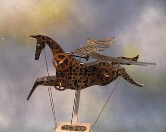 Black Steampunk Pegasus Automata