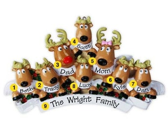 Personalized Christmas Family Ornaments- Rudolph Reindeer family of eight, Grandparents gang, grandkids,friends co-workers