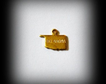 CLOSEOUT SALE 6 Oklahoma United States USA Tiny Raw Brass Charms Stamping Jewelry Findings (36)