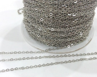 10mt Silver Chain Silver Tone Brass Soldered Cable Chain 10 Meters-33 Feet (1.5x2 mm.) G284
