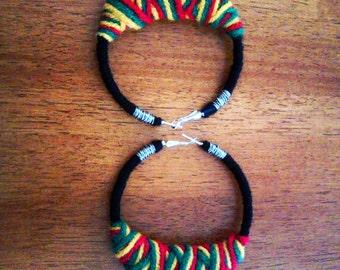 Rasta Crossover yarn earrings LG