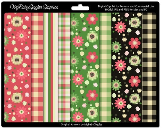 Spring Is Here Berry Pink and Garden Green Floral Digital Papers Scrapbook Supply Elements Commercial Use INSTANT DOWNLOAD