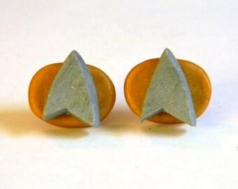 Star Trek Logo Communicator Post Earrings- Geekery - Handmade - Accessories - Unique - Gifts Under 15, 20, 25, 50