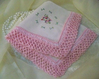 Crochet Handkerchief, Hanky, Hankie, Hand Crochet, Pink, Embroidered, Personalized, Monogrammed, Girls, Flower Girl, Ready to ship, Lace