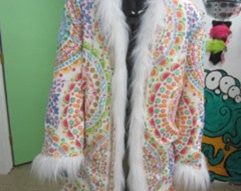 The Candy Man Can Faux Fur King's Light Up Coat with Hood  60 LEDs Ready To Ship