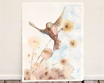 winter garden, original watercolor painting, bird in flight, brown flowers, blue snowflakes