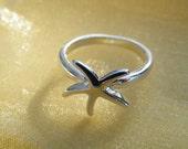 75% off enter LOVE2016, Silver Starfish Ring, Beach, Starfish, Birthday Gift, Woman's Ring, Christmas Gift