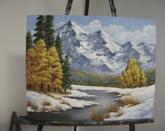 Mountain River With Autumn Trees, Snow, Lake,Water, West, Winter, Fall, Landscape Oil Painting