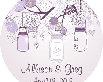 Wedding Labels Personalized Mason Jars on Tree Branch Round Glossy Stickers for Favors, Envelope Seals, Address Labels and more