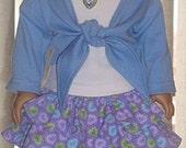 Lavendar Heart Print Skirt, T-Shirt & Wrap-Style Top For American Girl Or Similar 18-Inch Dolls