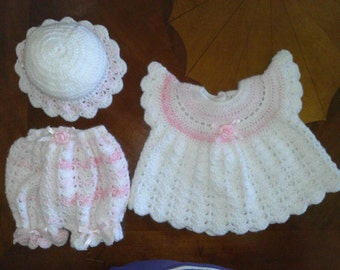 baby set with dress, diaper cover and bonnet