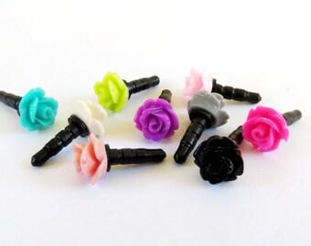 Rose iPhone & Cell Phone Dust Plug- Universal Anti-Dust Plug For Headphone Jack- 10mm Rose