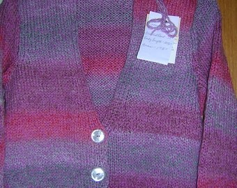 Hand Knitted Misses V Neck Button Cardigan