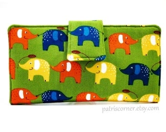 Handmade women's bifold wallet - My lucky Green wallet - ID clear pocket - gift ideas for her - blue, orange and yellow elephants