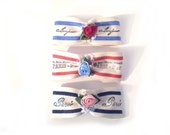 3 French Bow Barrettes, Paris Barrettes, 3 French Hair Barrettes, French Hair Bows, French Stripe Barrette