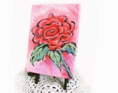 Small Red Rose Painting, I Love You Painting, Secret Message Artwork, Original Arcylic Artwork, 5x7 with Easel, Modern Red Rose