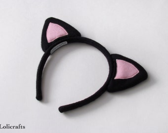 Black and Light Pink Kitty Ears Headband