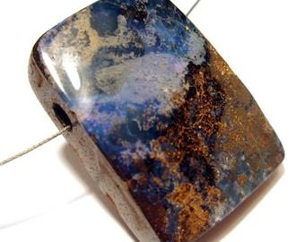 Boulder Opal Bead - Beautiful Purple Blue opal Material - Thick Bead - Natural Australian Opal
