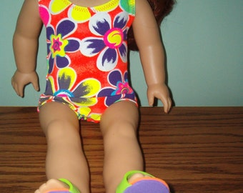 Bathing suit for American Girl Doll with flip flops