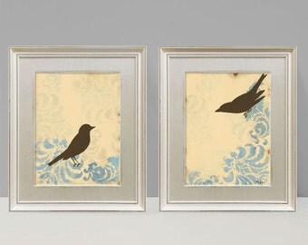 Love Birds, Damask Wall Decor, Cottage Chic, Shabby, Large Art Prints, Set of Two, 9 x 12 inches