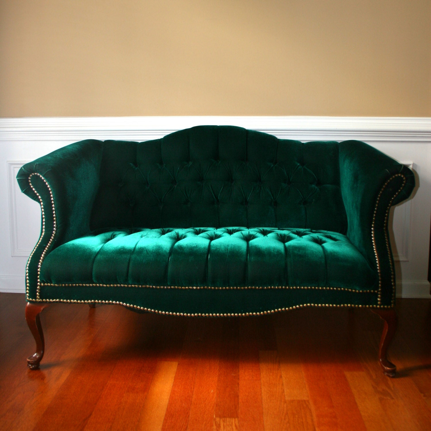 Reserved For Michael Emerald Chesterfield Love Seat Settee