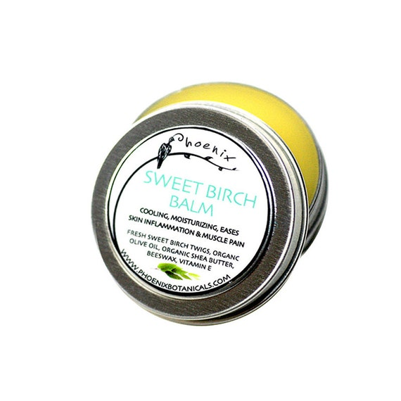 Sweet Birch Balm - mild wintergreen scent organic wildcrafted salve - gifts for him - 1/2 oz.