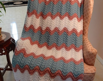 KNIT AFGHAN KING: extra large,hand knitted in a feather and fan stitch,rose ,white and seafoam green