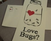 Card - Love Bugs - Flat Card and Printed Envelope