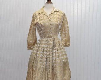 Vintage 1960 Dress Gold Brocade by An  Original Jr Theme