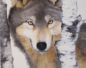 """ACEO 2.5"""" x 3.5"""" Miniature Painting Art Trading Card Wolf Watercolor Wildlife"""
