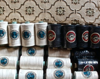 Vintage French Bobbins, French Cotton Threads. 3pc Black & White Reels. Vintage Haberdashery