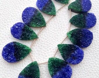Amazing TITANIUM Green-Blue Bio-Color Full Druzy PEAR Shaped Briolettes, 22-30MM,Great Item,Amazing Quality