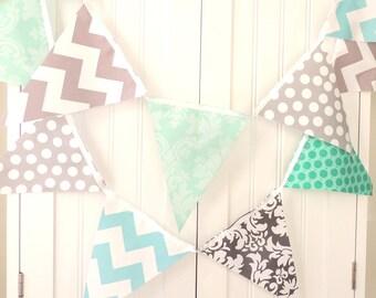 Banner, Bunting, Fabric Pennant Flag Garland Grey, Emerald, Teal, Aqua Polka Dot, Chevron, Baby Nursery Decor, Wedding Decor, Birthday Party