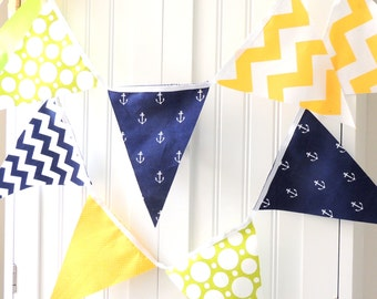 Nautical Bunting, Banner, Fabric Pennant Flags, Birthday Party, Navy Blue Anchor, Yellow Chevron, Lime Dots, Baby Nursery Decor, Baby Shower