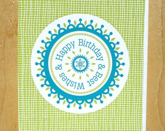 Handmade Letterpress Happy Birthday and Best Wishes The Dial Card