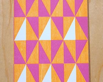 Handmade Letterpress Good Cheers Card in Hot Pink and Orange