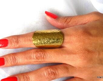 Long shield ring, adjustable tribal brass thumb ring, brass finger cuff, gift under 30