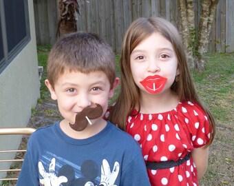 Lollipop Sucker Cover Lips Mustache Party Valentine's Day Set of 20 TBJ