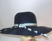 Vintage Designer Wide Brim Hat-Blue Straw Hat- Dana Marte Original Hat
