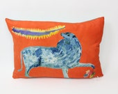 Small Red Circus Lion Pillow