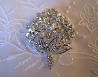 Vintage Silver Tone Flower Brooch Covered with Clear Rhinestones by Sarah Coventry