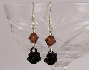 Black Rose Earrings, Sterling Sliver Earrings, Dangle Crystal Earrings, Clearance Sale