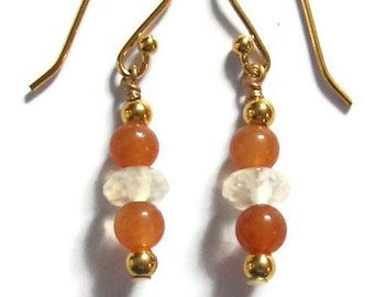 Gold Orange Carnelian Yellow Citrine Simple Dangle Earrings