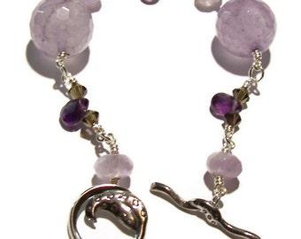 Amethyst Bracelet, Chakra Bracelet, Sterling Silver Bracelet, Bohemian Bracelet, Chunky Amethyst, Clearance Sale