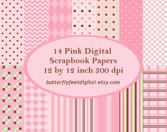 Pink Digital Paper, 14 Printable Designs, Scrapbooking, Card Making, Instant Download