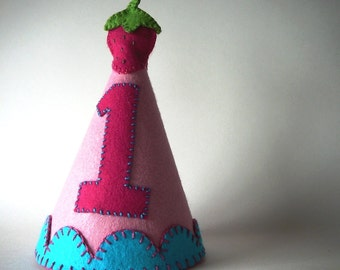 Girl's Birthday Party Hat--Pink with Strawberry--Custom Made
