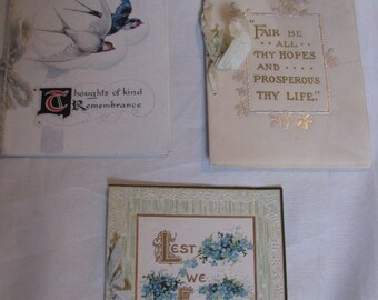Lot of 3 Victorian Christmas Cards Antique