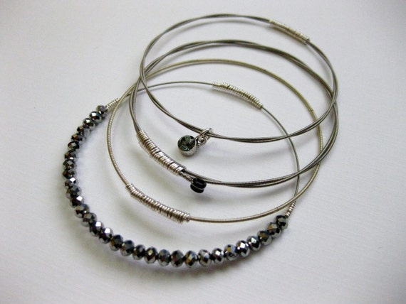 Custom Guitar String Twist Bangle Set - Choose your materials - Handmade Recycled Jewelry